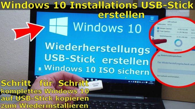 Windows 10 Recovery USB Stick erstellen zum Reinstallieren Wiederherstellungslaufwerk