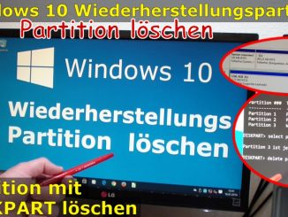 Windows 10 Wiederherstellungspartition löschen (450MB) mit DISKPART Partition löschen Video