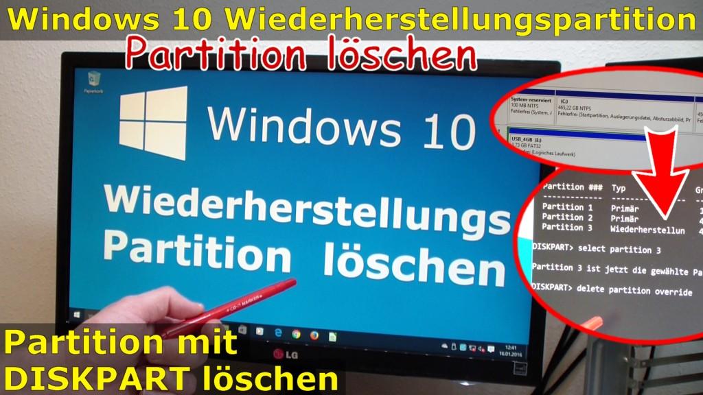 Windows 10 Wiederherstellungspartition Löschen (450MB) Mit DISKPART    Partition Löschen   [mit Video]   Tuhl Teim DE