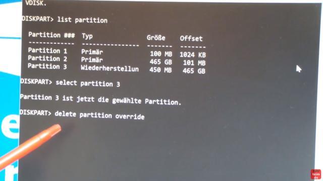 Windows 10 Wiederherstellungspartition löschen (450MB) mit DISKPART Partition löschen - delete partition override löscht unwiderruflich die WHP