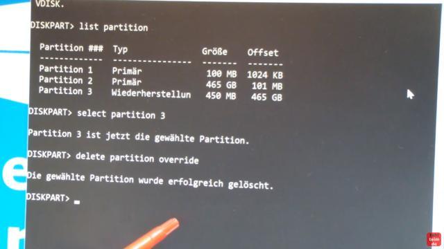 Windows 10 Wiederherstellungspartition löschen (450MB) mit DISKPART Partition löschen - die gewählte Partition wurde erfolgreich gelöscht