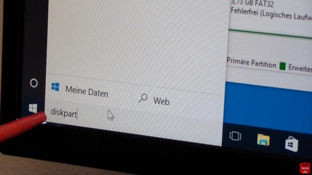 Windows 10 Wiederherstellungspartition löschen (450MB) mit DISKPART Partition löschen - diskpart.exe über das Suchfeld anzeigen