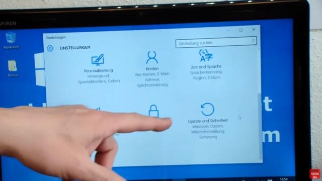 """Windows 10 blockiert Internet - DSL langsam - Browser hängt und lädt nicht - scrollt nach unten und klickt auf den Punkt """"Update und Sicherheit"""""""