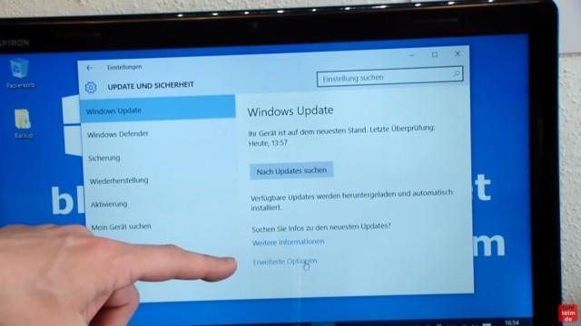 """Windows 10 blockiert Internet - DSL langsam - Browser hängt und lädt nicht - klickt bei """"Windows Update"""" auf """"Erweiterte Optionen"""""""