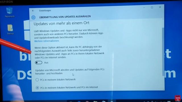 """Windows 10 blockiert Internet - DSL langsam - Browser hängt und lädt nicht - bei """"Updates von mehr als einem Ort"""" klickt Ihr auf den Schalter """"Ein/Aus"""" und stellt ihn auf """"Aus"""""""
