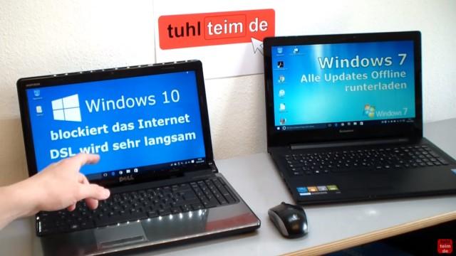 Windows 10 blockiert Internet - DSL langsam - Browser hängt und lädt nicht - wenn Windows 10 (links) Updates runterlädt, dann hängt das Internet auch bei dem Notebook mit Windows 7 (rechts)