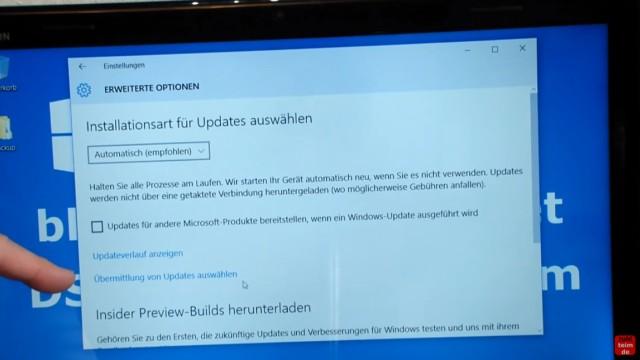 """Windows 10 blockiert Internet - DSL langsam - Browser hängt und lädt nicht - bei """"Installationsart für Updates auswählen"""" klickt Ihr auf """"Übermittlung von Updates auswählen"""""""
