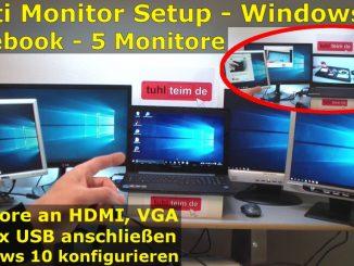 Multi Monitor Setup Windows 10 - 5 Monitore am Notebook - connect 5 monitors