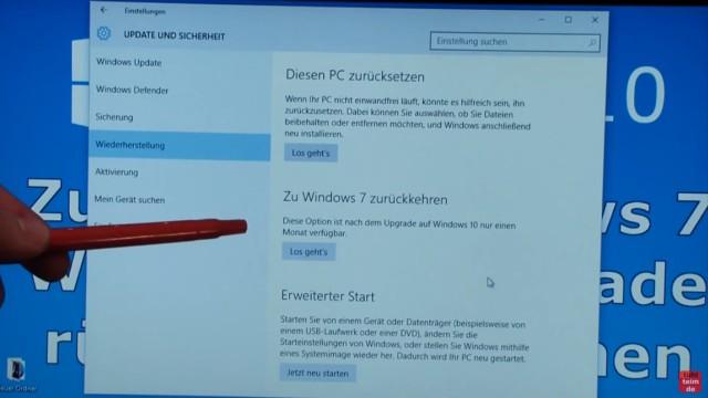 """Windows 10 zurück zu Windows 7 - Update rückgängig machen - Downgrade - windows.old - bei Wiederherstellung auf """"Zu Windows 7 / 8 zurückkehren"""" klicken"""