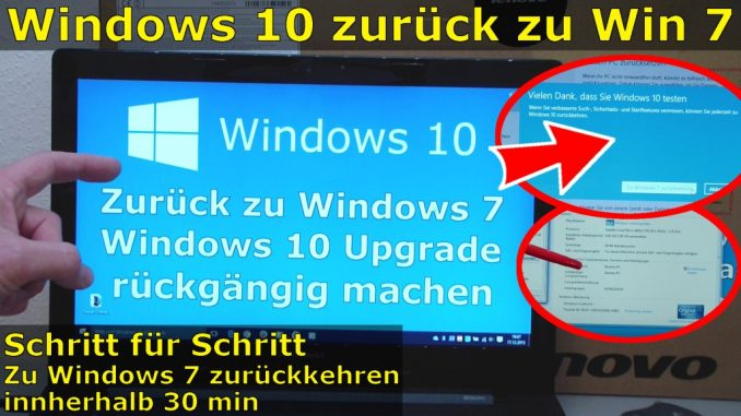 Windows 10 zurück zu Windows 7 Update rückgängig machen Downgrade windows.old
