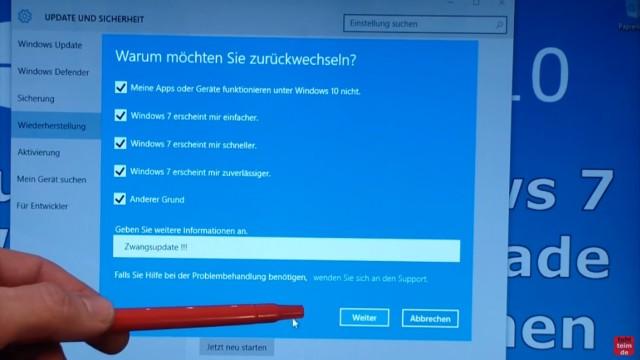 Windows 10 zurück zu Windows 7 - Update rückgängig machen - Downgrade - windows.old - Warum möchten Sie zurückwechseln