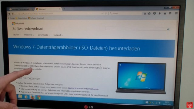 Windows 7 bei Microsoft runterladen - ISO Image Download 32Bit + 64Bit von Microsoft - Microsoft-Webseite mit Download