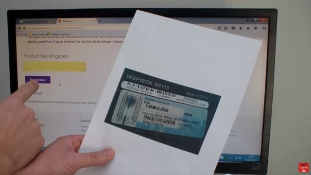 Windows 7 bei Microsoft runterladen - ISO Image Download 32Bit + 64Bit von Microsoft - Einen Product-Key eines DELL-Notebooks eingeben