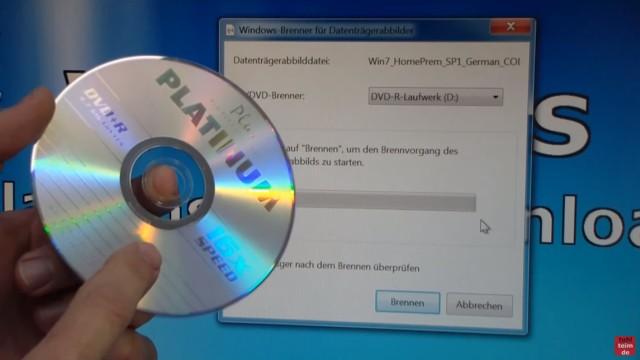 Windows 7 bei Microsoft runterladen - ISO Image Download 32Bit + 64Bit von Microsoft - Win7_HomePrem_SP1_German_COEM_x64.iso Datenträgerabbilddatei auf DVD schreiben