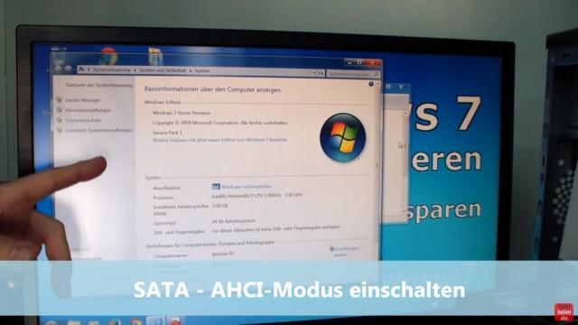 Windows 7 für SSD optimieren und einstellen - Win7 schneller machen und Platz sparen - 1. SATA-AHCI Modus einschalten wenn möglich