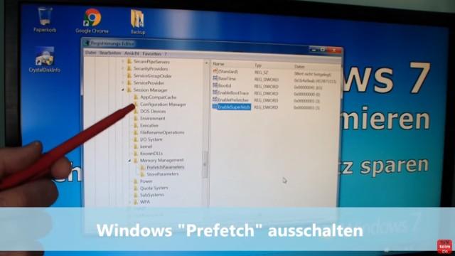 Windows 7 für SSD optimieren und einstellen - Win7 schneller machen und Platz sparen - 4. Prefetch ausschalten
