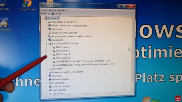 Windows 7 für SSD optimieren und einstellen - Win7 schneller machen und Platz sparen - Einstellungen des SATA-Controller im Gerätemanager - AHCI oder Standard SATA