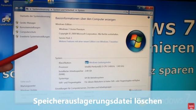 Windows 7 für SSD optimieren und einstellen - Win7 schneller machen und Platz sparen - 2. Speicherauslagerungsdatei löschen