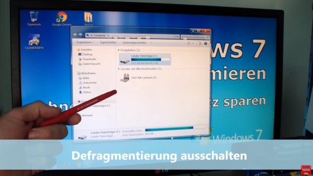 Windows 7 für SSD optimieren und einstellen - Win7 schneller machen und Platz sparen - 3. Defragmentierung ausschalten