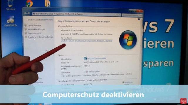 Windows 7 für SSD optimieren und einstellen - Win7 schneller machen und Platz sparen - Computerschutz deaktivieren