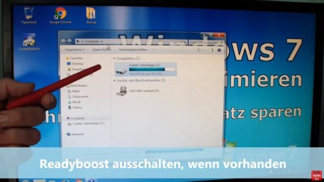 Windows 7 für SSD optimieren und einstellen - Win7 schneller machen und Platz sparen - 5. Readyboost ausschalten