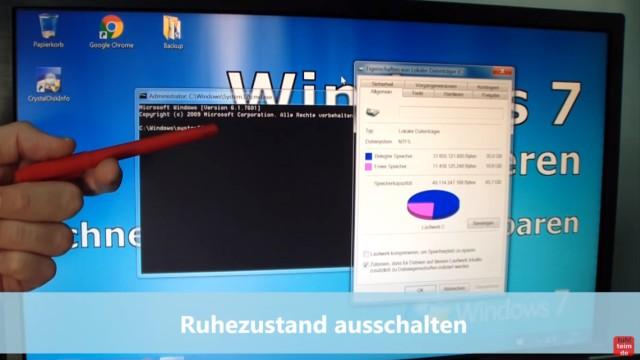Windows 7 für SSD optimieren und einstellen - Win7 schneller machen und Platz sparen - 6. Ruhezustand ausschalten