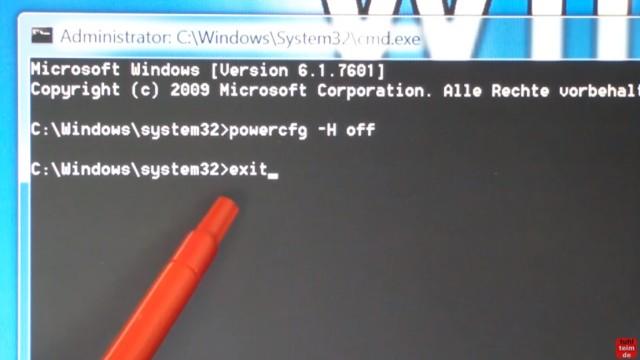 Windows 7 für SSD optimieren und einstellen - Win7 schneller machen und Platz sparen - der Ruhezustand wird im Kommandozeileninterpreter cmd.exe ausgeschaltet