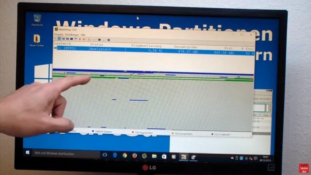Windows 7 und 10 Partitionen verwalten + verkleinern - GParted - nicht verschiebbare Dateien - alternative Defrag Software