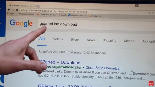 Windows 7 und 10 Partitionen verwalten + verkleinern - GParted - nicht verschiebbare Dateien - GParted Download als ISO-Datei