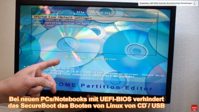 Windows 7 und 10 Partitionen verwalten + verkleinern - GParted - nicht verschiebbare Dateien - GParted Live gebootet von CD mit Menü