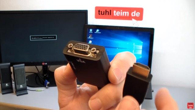 Windows 10 Monitor oder Beamer mit HDMI-VGA Adapter anschließen und Dual Monitor einstellen - Adapter mit VGA-Buchse und HDMI-Stecker