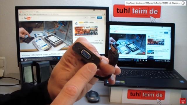 Windows 10 Monitor oder Beamer mit HDMI-VGA Adapter anschließen und Dual Monitor einstellen - alternativer Adapter USB3.0 auf VGA