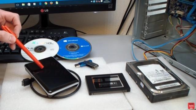 Windows 10 Festplatte klonen auf SSD oder HDD [Teil 2] Zielfestplatte ist kleiner - Ihr benötigt eine externe USB-Festplatte mit freiem Speicher