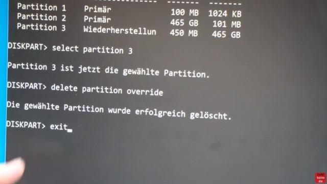 """Windows 10 Festplatte klonen auf SSD oder HDD [Teil 2] Zielfestplatte ist kleiner - verlasst """"diskpart.exe"""" mit """"exit"""""""