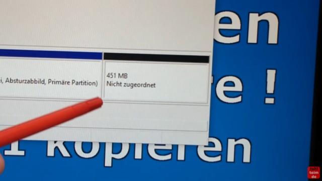 Windows 10 Festplatte klonen auf SSD oder HDD [Teil 2] Zielfestplatte ist kleiner - die Wiederherstellungspartition ist gelöscht