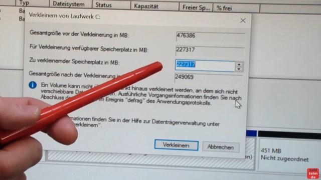 Windows 10 Festplatte klonen auf SSD oder HDD [Teil 2] Zielfestplatte ist kleiner - wählt den Speicherplatz, um den die Partition verkleinert werden soll