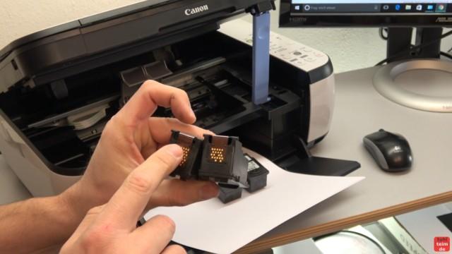 Canon Pixma Drucker 5200 Fehler mit dem Druckkopf - Drucker reagiert nicht - Druckkopf oder Patronen kontrollieren