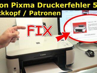 Canon Pixma Drucker 5200 Fehler mit dem Druckkopf - Drucker reagiert nicht