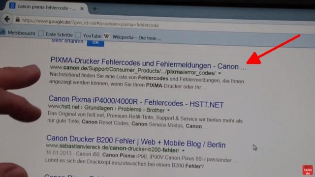 Canon Pixma blinkt orange - Alle Fehlercodes mit diesem Video finden - richtige Seite anklicken