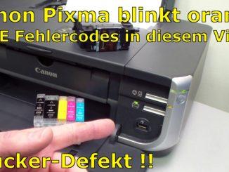 Canon Pixma blinkt orange - Alle Fehlercodes mit diesem Video finden