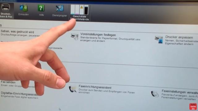 HP OfficeJet Pro 8000/8500a Plus Druckprobleme - Druckkopf und Patronen - geschätzte Tintenstände anzeigen