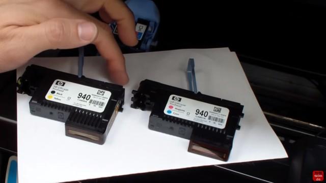 HP OfficeJet Pro 8000/8500a Plus Druckprobleme - Druckkopf und Patronen - Druckkopf 940 schwarz+gelb und 940 magenta+cyan