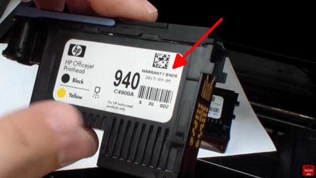 HP OfficeJet Pro 8000/8500a Plus Druckprobleme - Druckkopf und Patronen - Warranty ends - Garantieende ist aufgedruckt