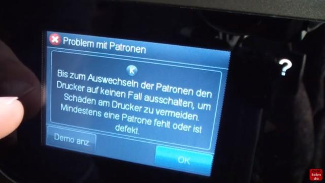 HP OfficeJet Pro 8600 Patronenfehler - Mindestens eine Patrone fehlt oder ist defekt - Problem mit Patronen - Bis zum Auswechseln der Patronen ...