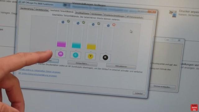 HP OfficeJet Pro 8600 Patronenfehler - Mindestens eine Patrone fehlt oder ist defekt - Fehlermeldung im Treiber auf dem Bildschirm