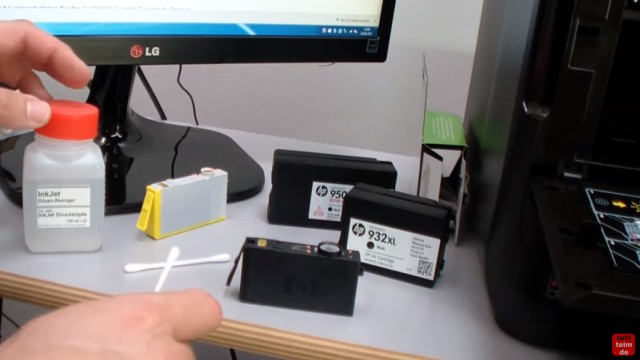 HP OfficeJet Pro 8600 Patronenfehler - Mindestens eine Patrone fehlt oder ist defekt - Druckkopf-Kontakte und Patronen reinigen
