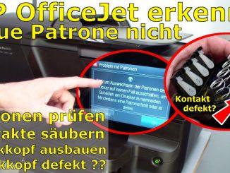 HP OfficeJet Pro 8600 Patronenfehler - Mindestens eine Patrone fehlt oder ist defekt