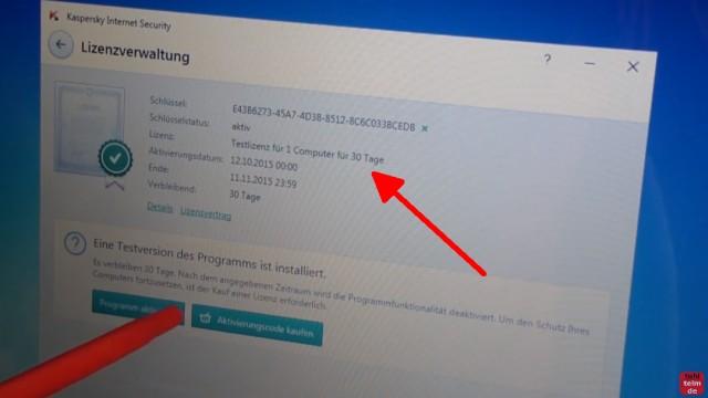 Kaspersky Internet Security runterladen - 365 Tage Abo + 30 Tage geschenkt - kostenlose Testlizenz für 30 Tage