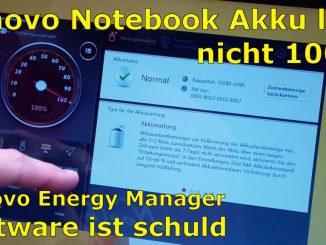 Notebook Akku Problem - lädt nicht 100% - defekt bei neuem Lenovo Notebook