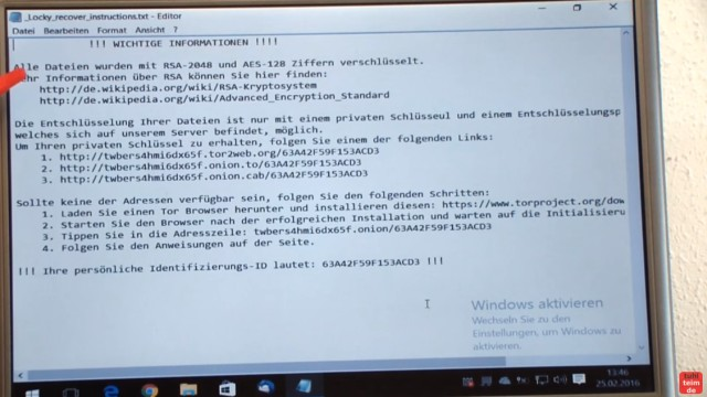 Locky Trojaner installieren - Krypto Virus mit Javascript verschlüsselt Platte - nach dem Ausführen des Trojaners wird dieser Text angezeigt